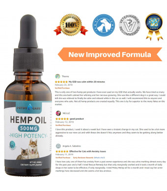 Hemp Oil for Dogs and Cats, BONUS E-BOOK, 100% Organic Pet Hemp Oil, Full Spectrum Hemp Extract 500MG - Anxiety Relief for Dogs and Cats, Support Hip and Joint Health, Third-Party Tested, Extracted in USA