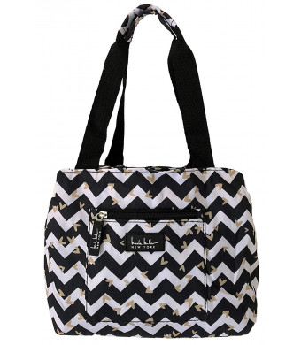 """Nicole Miller of New York Insulated Waterproof Lunch Box Cooler Bag - 11"""" Lunch Tote (Black/White Chevron Heart)"""