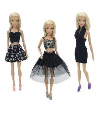 Nounita 3 Sets Clothes Doll Dress Clothing Outfits Compatible with 11.5 inch Doll (Black)