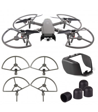 FEPITO 3 Pcs Accessories Kit Compatible with Mavic 2 Pro/ Zoom, 2 in 1 Propeller Guard with Foldable Landing Gear, Lens Hood Sun Shade with Motor Cover