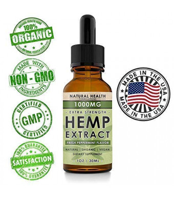 Hemp Oil 1000mg - Premium Extract Formula for Pain Relief, Anxiety, Depression and Stress - 33mg Per Serving x 30 Servings (1000mg) - Anti-Inflammatory Omega 3/6  Organic and Non GMO  Fresh Mint Flavor