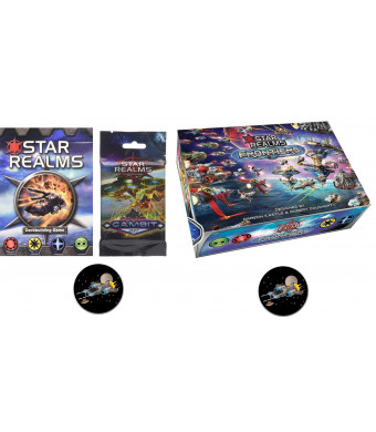 Star Realms Bundle of Base Game, Frontiers, The Gambit Set and 2 Star Fighter Buttons