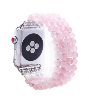 KAI Top Compatible Apple Watch Band Series 3/2/1 38mm 42mm, Unique Handmade Beaded Elastic Stretch Natural Rose Quartz Crystal Stone Fashion Bracelet Strap Women Girls (Rose Quartz, 42mm)