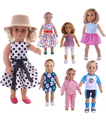 Flate Doll Clothes for 18 Inch Dolls one Week Clothes 7 Set Doll Outfits American Girl Doll Accessories