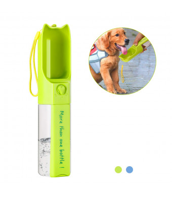 AMiLove Pet Water Bottle for Walking, Portable Dog Travel Drinking Cup with Filter, Antibacterial, Leak Proof - Food Grade  Silicone(Green)