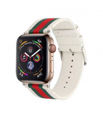 HandyGear Sport Band Compatible with Apple Watch, Classy Style Genuine Leather with Nylon Replacement Strap Band for iWatch Series 4 Series 3 Series 2 Series 1 (CG White/Green/Red, 42MM/44MM)