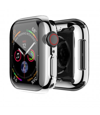 Smiling Apple Watch 4 Case with Buit in TPU Screen Protector 44mm- All Around Protective Case High Definition Clear Ultra-Thin Cover Apple iwatch 44mm Series 4 (Silver, 44mm)