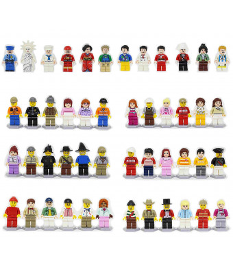 R-Magic 44 Pcs Minifigures Building Bricks Community People with Accessories, Building Party Toys Gift