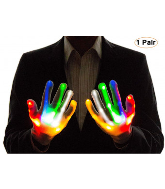 LED Flashing Skeleton Gloves, Finger Flashing Light Up Gloves Christmas Costume Glow Toys,Christmas Birthday Gift Dancing Party Favor (L)