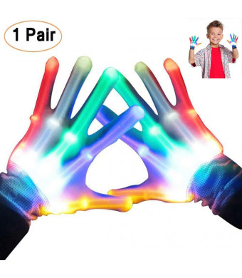 LED Flashing Skeleton Gloves, Finger Flashing Light Up Gloves Christmas Costume Glow Toys,Christmas Birthday Gift Dancing Party Favor (S)