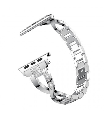 YOFUNTLE Compatible for Apple Watch Band 38mm 40mm,Women Bling Rhinestone Stainless Steel Metal Wristband Strap Bracelet Compatible for Apple iWatch Series 4(40mm),Series 3,2,1(38mm) (Silver)