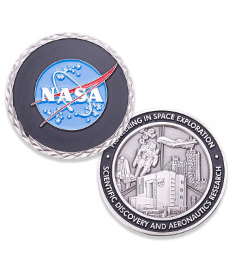 NASA Logo Challenge Coin - NASA Collectible Coin - Soft Enamel Mate Paint Official Logo of National Aeronautics and Space Administration Coins - Veteran Owned Company!