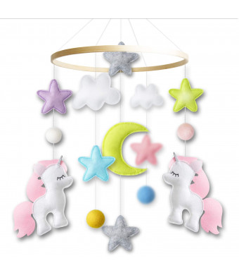 Baby Crib Mobile by Giftsfarm, Unicorn Baby Mobile for Girl Nursery Dcor (2019 New Design)
