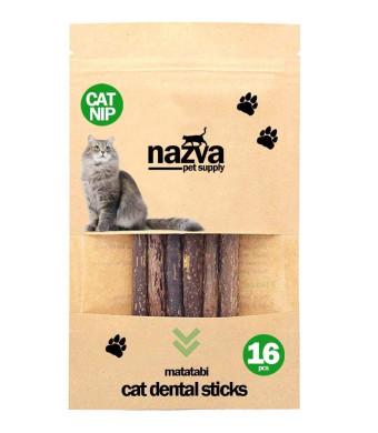 NAZVA Pets Supplies Catnip Toy Silvervine Matatabi Sticks - 16 pcs - Natural Toothbrush Cats Chew Toy and Dental Organic Treat