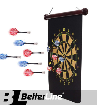 BETTERLINE Magnetic Dart Board Game Set - 16.5 x 23 Inch (42 x 58cm) Roll-up Board with 6 Darts - Child and Furniture Safe Dartboard for Kids and Adults