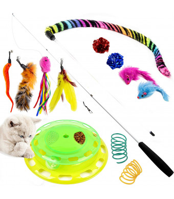 Youngever Deluxe Cat Toys Assortment, Cat Play Station, Teaser Wand with Refill Natural Feathers, Cat Springs, Crinkle Balls, Fluffy Mouse for Cat, Kitten