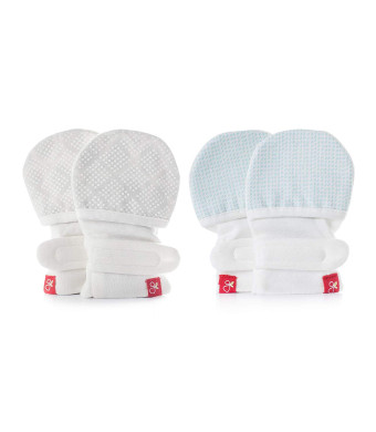 goumikids goumimitts Soft Stay On Scratch Mittens - Stop Scratches and Germs, 2 Pack (3-6 Months, Drops Aqua - Diamond Dots Cream)