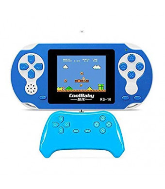 "Viki-Liki Handheld Chargeable Console for Kids, Portable Arcade Gaming System 3.2"" LCD Built-in 300 Classic Games Entertainment Present for Children (Blue)"