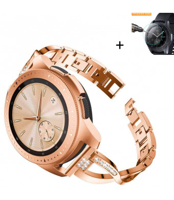 Galaxy Watch 42mm Bands Women 20mm Bling Crystal Jewelry Bangle Metal Stainless Steel Bracelet Replacement for Samsung Galaxy Watch 42mm R810/Gear S2 Classic Smartwatch R732/R735 (Rose Gold)