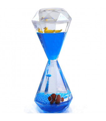ORIY Liquid Motion Floating Bubbler Timers Sensory Play Novelty Gag Desk Toys Fidget Toy Children Activity for Anxiety Autism Sensory ADHD Play Blue Oil Water Duck Clownfish