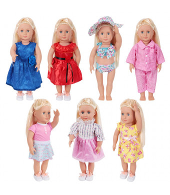 LetsFunny Doll Clothes for 18 Inch Dolls - Girl Dolls 7 Outfit for My Life Doll, Our Generation, Journey Girl Dolls Accessories - Girls Toy