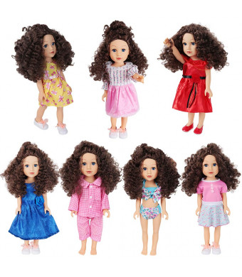 Doll Clothes for 18 Inch Dolls - Girl Dolls 7 Outfit for My Life Doll, Our Generation, Journey Girl Dolls Accessories Fashion Oufits, Daily/Party Dress, Accessories Fits 16-18 Inch - Girls Toy