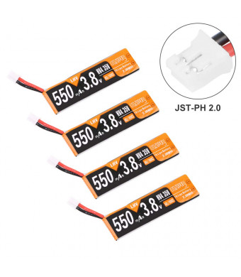 4pcs 550mAh 1S HV 3.8V LiPo Battery 50C Rechargeable Battery JST-PH 2.0 PowerWhoop mCPX Connector for Inductrix FPV Plus Micro FPV Racing Drone Like Tiny 8X Mirarobot S85 Whoop KK Tiny7 Snapper7 Armor