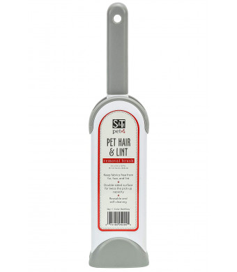 """SandT Pet 529201 Pet Hair and Lint Removal Brush - 2"""" x 3"""" x 12.9"""" - Red/Grey"""