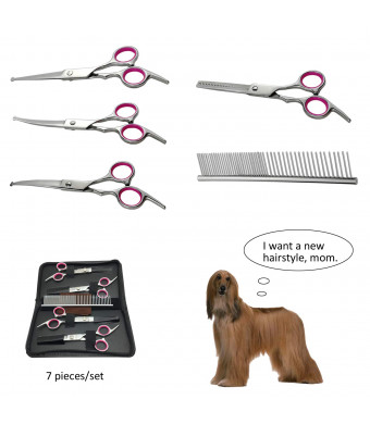 Dog Grooming Scissors Kits Professional Round Tips Thinning Curved Shears (Small, Medium,Large