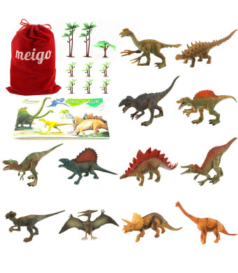MEIGO Dinosaur Toys - Toddlers 7'' to 8'' Educational Realistic Dinosaur Figures with Dinosaur Book as Gift Set, Cake Topper, Party Favor for Kids 3 4 5 6 Year Old Boys Girls (12pcs)
