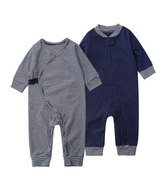 SYCLZ Baby 2-Pack 100% Cotton Romper Jumpsuits Two Way Zipper Long Sleeve Footless Sleep and Play (0-2T)