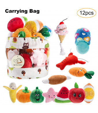 PACASSO 12 Pack Dog Squeaky Toys Cute Plush Toys for Small Medium Dog Pets |Squeaky Toys| Plush Games | Chewing Toys | Carry Bag.