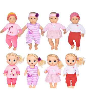 ebuddy 4-Sets Doll Clothes Include Jumpsuit, Dress, Hat, Headband, Top, Pants for 15 inch Dolls Like Alive Baby Doll and Bitty Doll