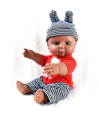 HiPlay 12 Soft African American Body Baby Doll -Realistic Silicone Vinyl Body with Cute Outfit, Newborn Baby Dolls for Kids, Toddlers (C)