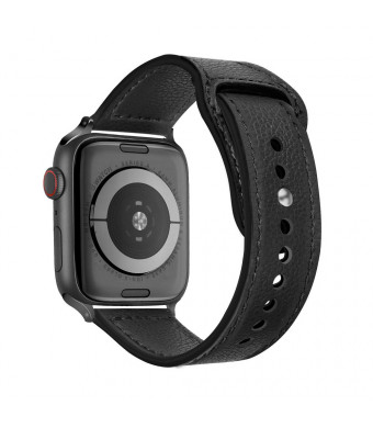 Tensea Leather Band Compatible with Apple Watch Band 42mm 44mm, Premium Genuine Leather Straps Replacement for Men Women iWatch Apple Watch Series 1, Series 2, Series 3, Series 4 (Black)