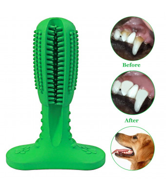 YipinNuo Dog Toothbrush Stick Effective Dog Dental Care Brushing Stick Doggy Teeth Cleaning Brush Natural Rubber Bite Resistant Chew Toys for Dogs - Green