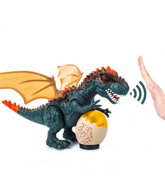 Hand-Controlled Dinosaur Toys Walking T-Rex Dinasors Toys for Boys Girls with Bright LEDs Light Up, Moving Head and Tail, Realistic Dino Roaring Sound, Robot Dinosaur Toy (Battery Powered) Green