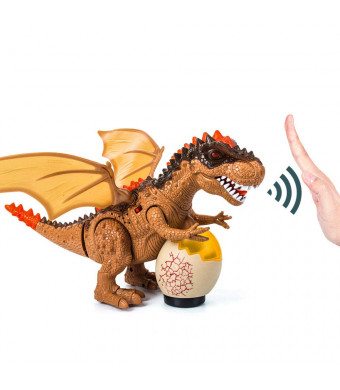 Hand-Controlled Dinosaur Toys Walking T-Rex Dinasors Toys for Boys Girls with Bright LEDs Light Up, Moving Head and Tail, Realistic Dino Roaring Sound, Robot Dinosaur Toy (Battery Powered) Brown