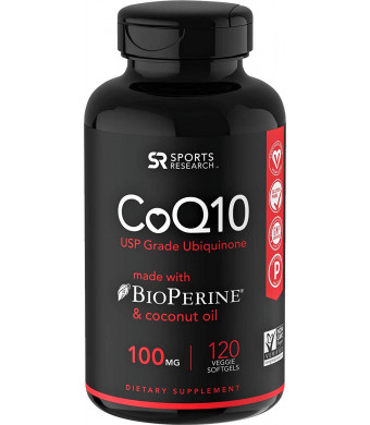 CoQ10 with Organic Coconut Oil and Bioperine (Black Pepper) for Better Absorption ~ Vegan Certified and Non-GMO Verified (120 Veggie Softgels)