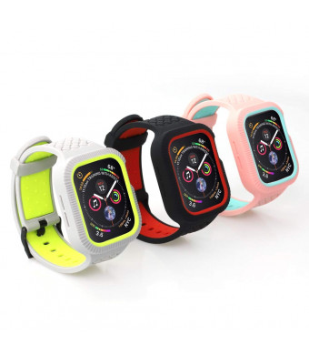 Applestore Compatible for Apple Watch 4 Bands 44mm, 3 Pack Soft Silicone Sport Replacement Band Bracelet Wristband Strap Compatible for iWatch Apple Watch Series 4