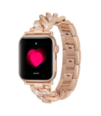 ROGOBAND 38mm Iwatch Bands Compatible for Apple Watch Band 38mm Rose Gold for Women, Iwatch Series 3/2/1 38mm Bands for Womens, Glitter Metal Strap Stainless Steel Iwatch Bracelet Rose Gold for Girls