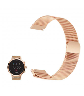For Fossil Q Venture HR Band , FRGNIE Milanese Stainless Steel Fully Magnetic Closure Mesh Replacement Strap for Fossil Q Venture (Gen3) / Fossil Q Venture HR (Gen4) Smartwatch (Rose Gold)