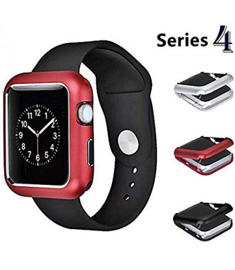 Josi Minea iWatch 4 [44mm] Aluminum Full Body [Front and Back] Magnetic Protective Cover Case - Shockproof and Anti-Scratch Shell Bumper Shield Guard Compatible with Apple Watch Series 4 [ 44mm - Red ]