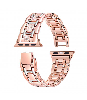 Iwatch 44mm Band for Women - Rose Gold Series 4 Iwatch Bracelet, Glitter Iwatch Wristbands Metal Strap, Stainless Steel Band Compatible Apple Watch Band 44mm Series 4 Women (Rose Gold + Silver)
