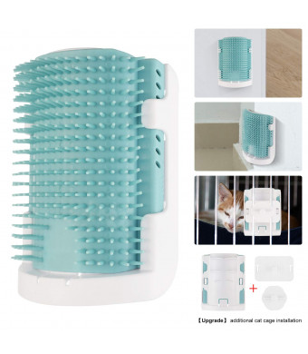 AKcat Cat Self Groomer with Catnip, Upgraded V3.0 Soft Rubber Bristles Massage Comb, 3 Installation Methods Grooming Brush Toy