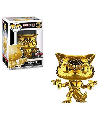 Marvel Funko Pop Studios 10th Anniversary Guardians of The Galaxy Rocket Raccoon Gold Chrome Exclusive Figure