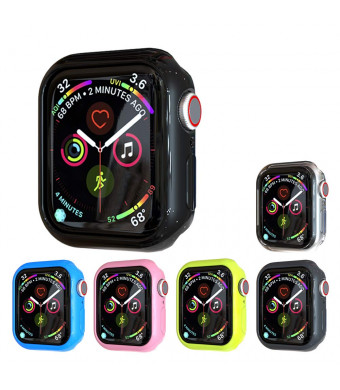 Leotop Compatible with Apple Watch Case 40mm 44mm [6 Pack], Soft TPU Bumper Protective Cover Shatter-Resistant Lightweight Thin Shell Slim Frame Compatible iWatch Series 4 (44mm)