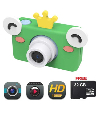 DENT Camera for Kids Toy Camera HD 8MP Video Digital Camera Camcorder for Girls and Boys Includes 32gb microSD Card (Blue/Green Frog)