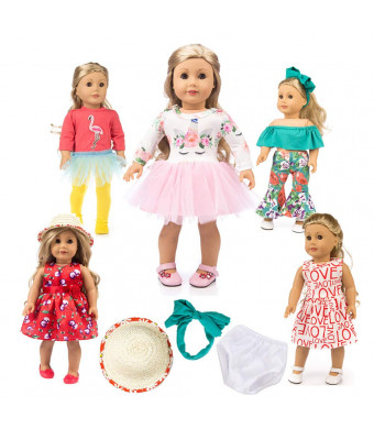 "Unicorn Doll Clothes American Girl Doll Unicorn Clothes Outfit Pajamas Set 10pcs 18"" Unicorn American Girl Doll Clothes and Accessories 18 Inch for Christmas , My Life Doll Clothes Baby Journey Girls"