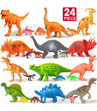 Feroxo Dinosaur Toys for Kids Party Supplies - 12 Large 12 Mini Toy Dinosaurs Set Figure Realistic Plastic Figurines Playset for Birthday School Playtime Dinosaur for Kids Boys Girls Age 3+ Year